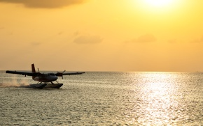 Wallpaper the plane, blur, The Maldives, bokeh, passenger, wallpaper., seaplane, seaplane, De Havilland, sun morning ocean, ...