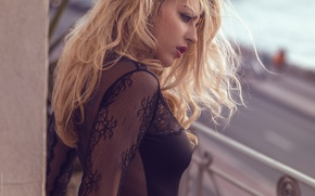 Picture model, makeup, hairstyle, blonde, balcony, beauty, in black, bokeh, sexy, David Ben-Haim, Lea Benattia