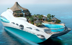 Wallpaper the project, superyacht, Futuristic, the yacht-island, gesign, Yacht island, tip 3