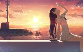 Wallpaper girl, shell, kantoku, art, sunset