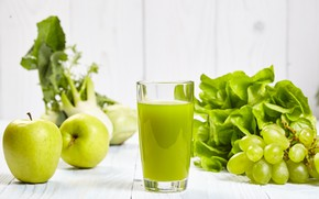 Picture greens, juice, grapes, drink