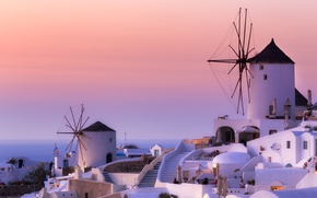 Picture Greece, mill, Santorini, Oia, Greece, Aegean, windmills