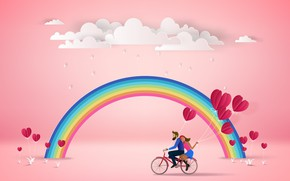 Picture Nature, Rainbow, Pair, Bike, Rendering, Obloka