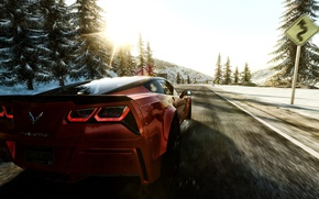 Picture winter, road, forest, the sun, snow, reflection, mountains, dawn, sign, spruce, morning, turn, slope, corvette, ...