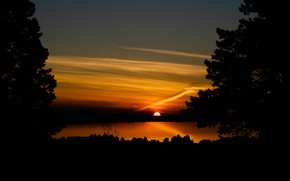 Picture the sun, trees, sunset, lake, silhouette