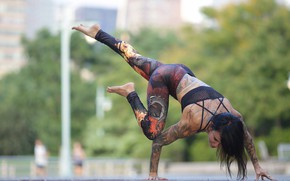 Picture girl, pose, body, tattoo, legs, gymnast, Jessica