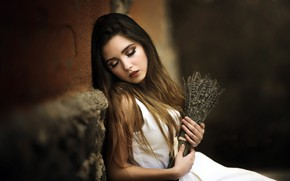Picture girl, flowers, Laulights