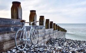 Picture bike, the ocean, shore, pier, tide