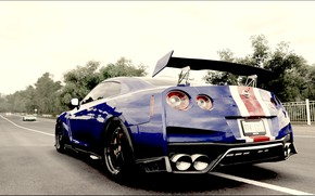 Picture car, Nissan, game, forza horizon 3, blue and red