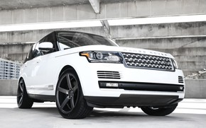 Picture wheels, Range Rover, black, with, Vossen, roof, gloss, lowered, HSE, wrapped