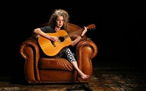 Wallpaper music, woman, guitar, Marynell