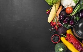 Wallpaper greens, bow, pepper, vegetables, baklajan