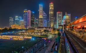 Picture building, Singapore, night city, skyscrapers, Singapore, Singapore Financial District