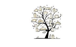 Wallpaper tree, spring, March, art, cat