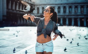 Picture the sun, birds, sexy, model, shorts, makeup, figure, brunette, tattoo, area, glasses, hairstyle, pigeons, topic, …