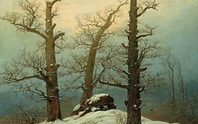 Picture winter, trees, landscape, stones, picture, Caspar David Friedrich, Dolmen in the Snow