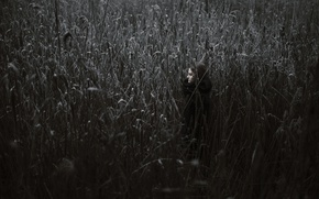 Picture frost, girl, tall grass
