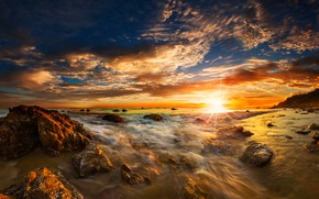 Wallpaper USA, stones, Matador State Beach, horizon, the sky, dawn, clouds, Malibu, sea, coast, surf, rays, ...