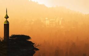 Picture the city, building, tower, haze, Xanadu