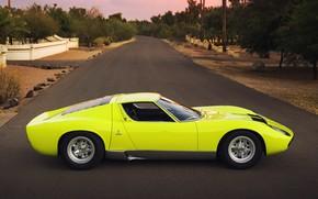 Picture Auto, Lamborghini, Retro, Green, Machine, Eyelashes, Car, Supercar, 1967, Miura, Supercar, Lamborghini Miura, Green, Italian, …
