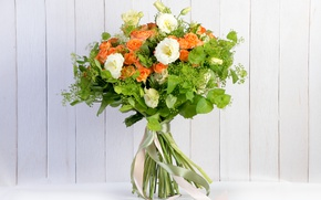 Picture greens, roses, bouquet, eustoma