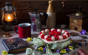 Picture flowers, style, bottle, lamp, coffee, key, glasses, Easter, mug, lantern, cake, book, coffee grinder, coffee …