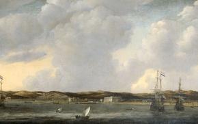 Picture landscape, boat, ship, oil, picture, sail, canvas, Reinier Nooms, View Tunisia