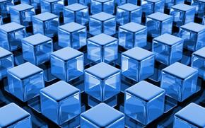 Wallpaper texture, cubes, blue