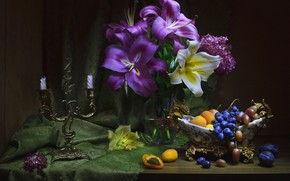 Picture flowers, Lily, grapes, still life, candle holder, apricots