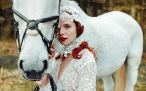 Picture look, girl, mood, horse, red, redhead, white horse