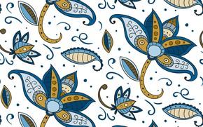 Wallpaper batik, texture, blue, style, flowers