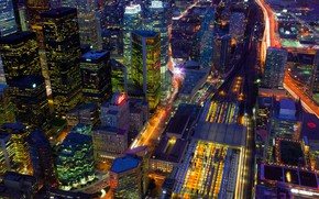 Picture night, lights, home, Canada, panorama, Toronto