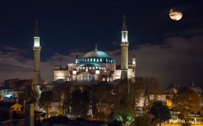 Picture night, lights, the moon, tower, temple, mosque, architecture, the dome, Istanbul, Turkey, Hagia Sophia