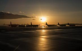 Wallpaper sunset, airport, aircraft