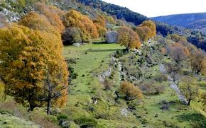 Picture autumn, trees, mountains, house, France, Provence-Alpes-Cote d'azur, Coursegolf