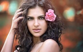 Picture flower, look, girl, face, hand, makeup, brown hair, shoulders, curls, Nya, Tanya Markova