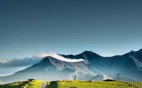 Wallpaper road, the sky, clouds, nature, posts, New Zealand