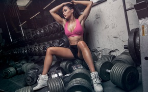 Picture sexy, pose, wall, sport, figure, brunette, hairstyle, shorts, sports, mirror, fitness, t-shirt, iron, sneakers, the …