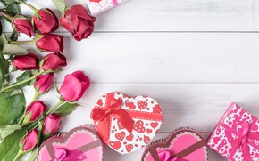 Wallpaper love, flowers, heart, roses, gifts, red, red, love, bow, box, heart, wood, flowers, romantic, valentine's ...