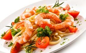 Wallpaper pasta, greens, shrimp, tomatoes