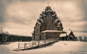 Picture Russia, Wooden Pokrovskaya church, Leningrad Oblast, Vsevolozhskiy Raion