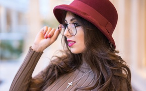 Picture face, model, hat, glasses, Karina