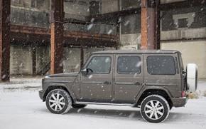 Picture winter, snow, Mercedes-Benz, Parking, industrial zone, 2018, G-Class, the five-door