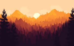 Picture Sunset, The sun, The evening, Mountains, The game, Forest, View, Hills, Landscape, Art, Art, Campo …