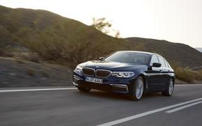 Picture road, the sky, asphalt, mountains, markup, vegetation, BMW, sedan, xDrive, 530d, Luxury Line, 5, dark …