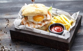 Picture egg, sandwich, ketchup, French fries