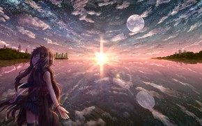 Picture water, girl, the sun, the city, the plane, the moon