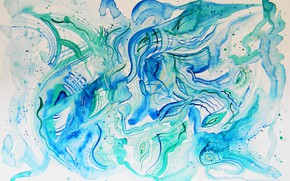Picture blue, oil, pastel, green, markers, gouache, Watercolor, acrylic, gel, Lena Horn