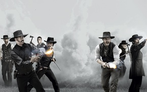 Wallpaper Denzel Washington, Denzel Washington, Chris Pratt, Chris Pratt, The Magnificent Seven, The Magnificent Seven