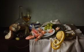 Picture lemon, glass, bread, grapes, still life, shrimp